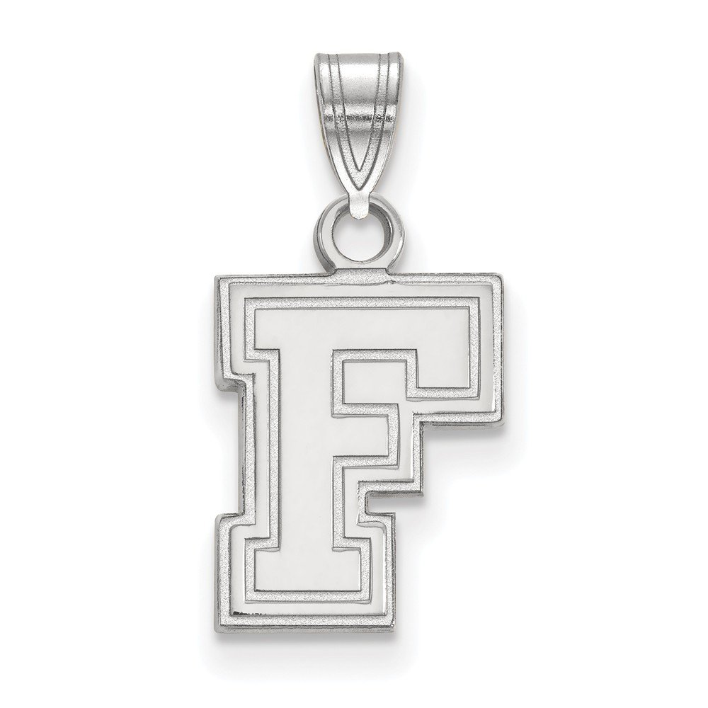 10k White Gold Fordham University Rams School Letter Logo Pendant