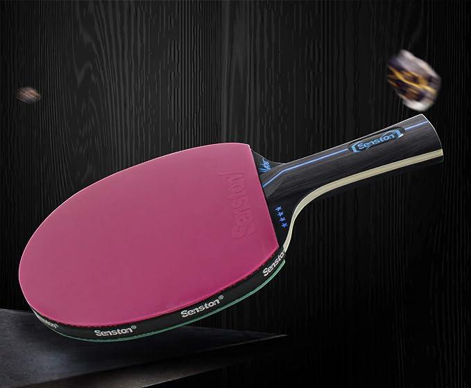 Senston Ensemble de Raquettes de Tennis de Table 4 Joueurs avec /étui de Transport 4 Raquettes de Tennis de Table et 6 balles de ping-Pong Jeu avanc/é interm/édiaire