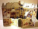 Best Value Imported Classic Vintage 3D 3-D Fold-Out Christmas Advent Calendar of Colorful Old Fashioned Village with Glitter Xmas Perfect Holiday Gift {jg} For mom, dad, sister, brother, friend, gay
