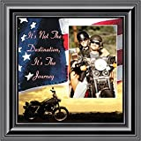 Harley Davidsons Motorcycle, Its not the destination with American Flag Background , 10X10 9752B