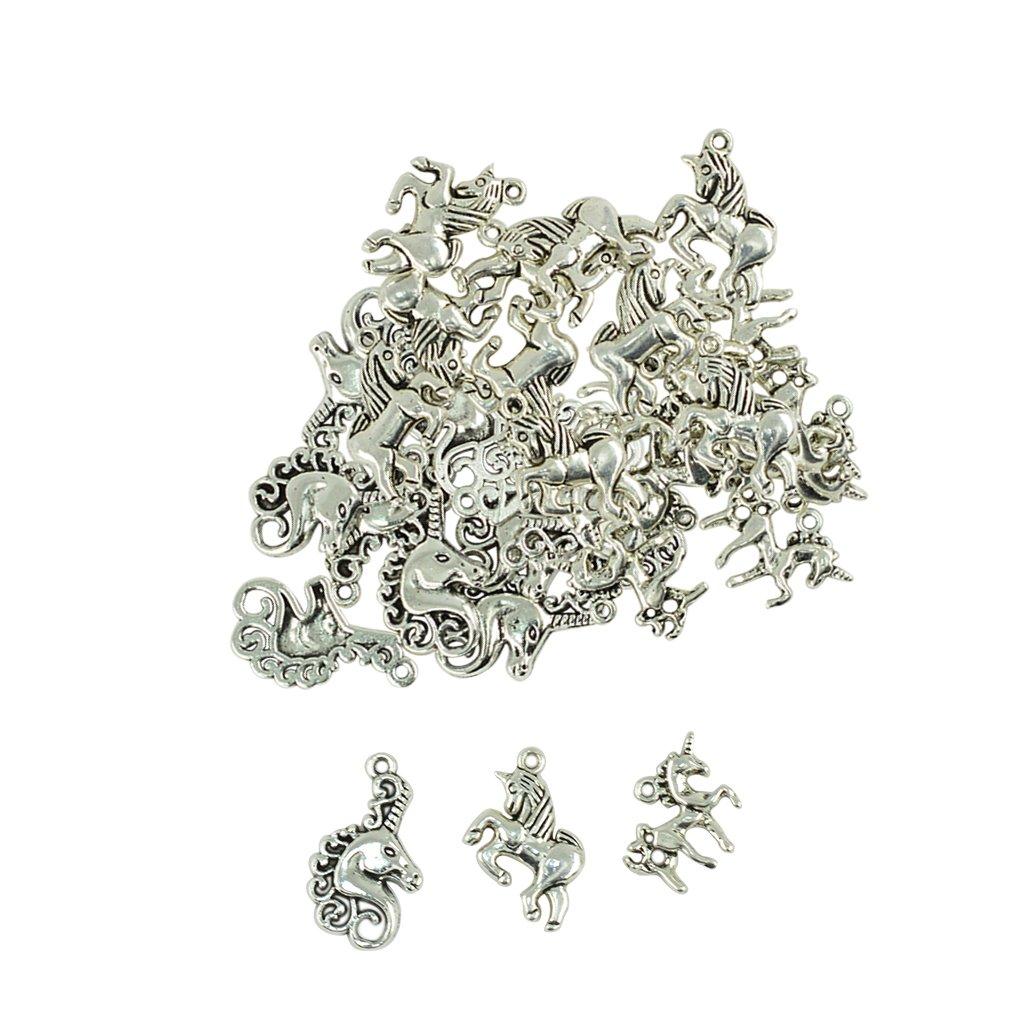 Baosity 30Pcs Lot Mixed Alloy Tibetan Silver Unicorn Charm Pendant Jewelry Findings for Women Lady Girls Western Festival
