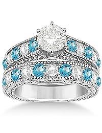 Antique Diamond and Blue Topaz Bridal Gemstone Wedding Ring Set Hypoallergenic Palladium (3.12ct)