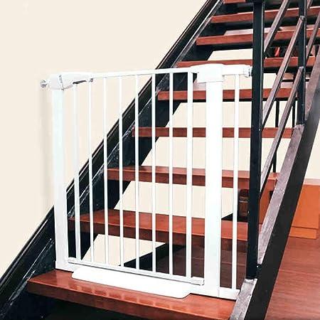 JHUEN Puertas de Seguridad Puertas para bebés Puertas Escalera Extra Ancha Puerta para Mascotas para Perros Gatos Protector de Pared Metal Blanco 63-179cm de Ancho (Tamaño: 115-122CM): Amazon.es: Hogar