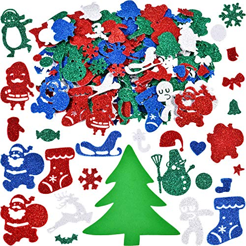Willbond 500 Pieces Christmas Stickers Glitter Foam Stickers Christmas Craft Stickers for Christmas Party Decoration DIY Crafts
