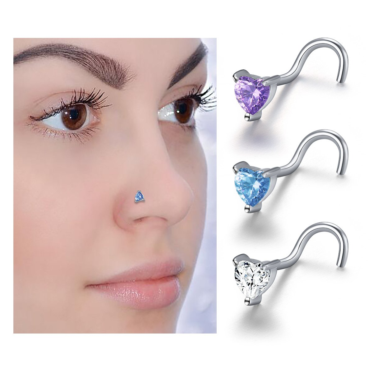 Body Jewelry S925 Sterling Silver Nose Hoop Ring 8mm (CZ heart 3 pieces)