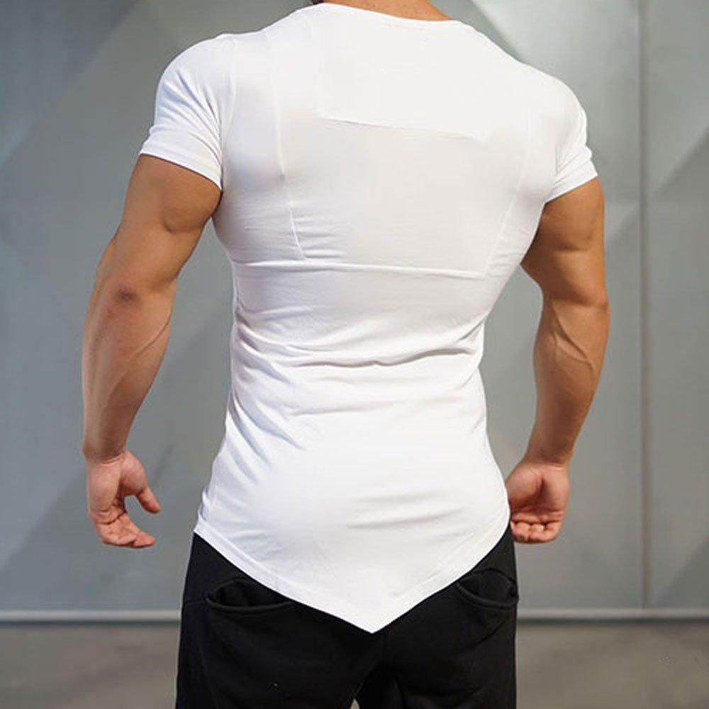 NEEKEY Mens T Shirts Men T-Shirt Irregular Polyester Short Sleeve Hedging Slim Fit Blouse