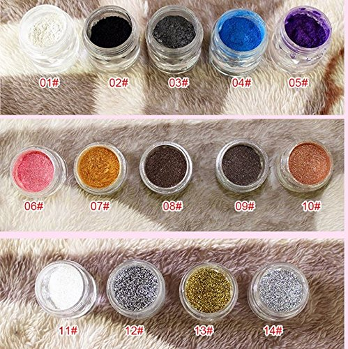 Thinkmax Eye Loose Glitter Mineral Powder Shimmer Powder Eyeshadow Variety Choices Eye Shadow Pigments Palette Cosmetic-03# 03 Red Eye