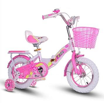 sheng Bicicleta plegable 16-18 pulgadas pupilas niños niña bicicletas rosa (Color : Pink