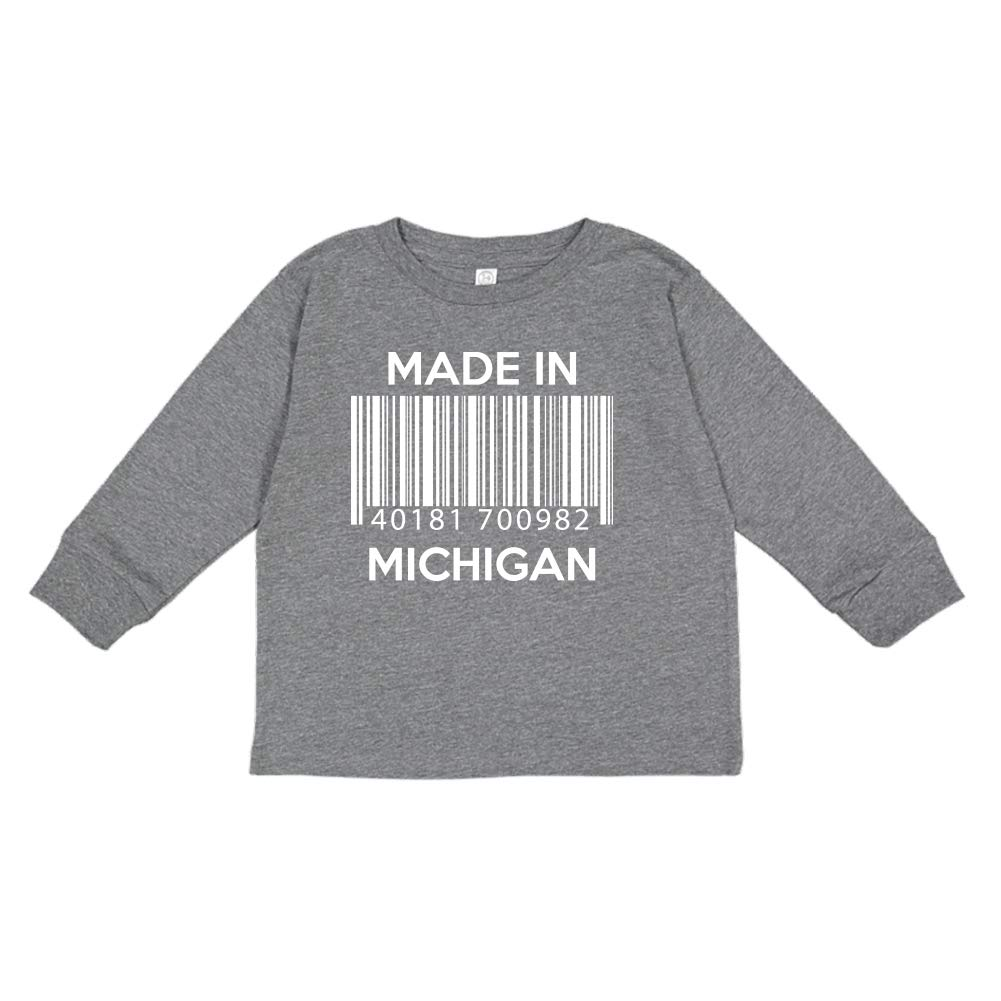 Made in Michigan Barcode Toddler//Kids Long Sleeve T-Shirt