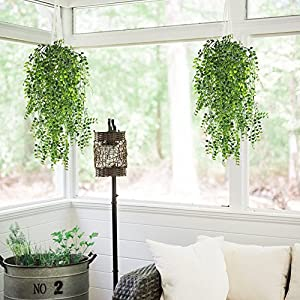 HOGADO 2pcs Artificial Ivy Fake Hanging Vine Plants Decor Plastic Greenery for Home Wall Indoor Outdside Hanging Basket 2
