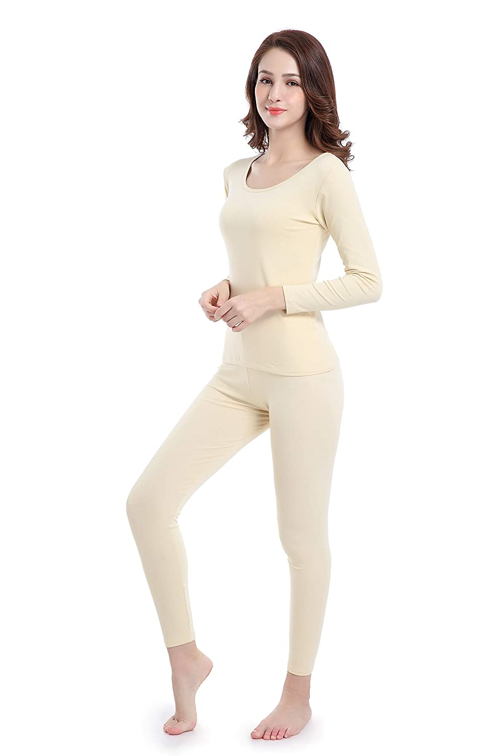 Women Stretch Thermal Underwear Set Soft Scoop Neck Base Layer Thin Long Johns