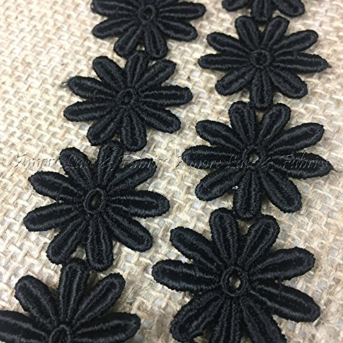 5 Yard Lot, Margarita Daisy Flower Venise Lace Trim, Gorgeous, Black, 1
