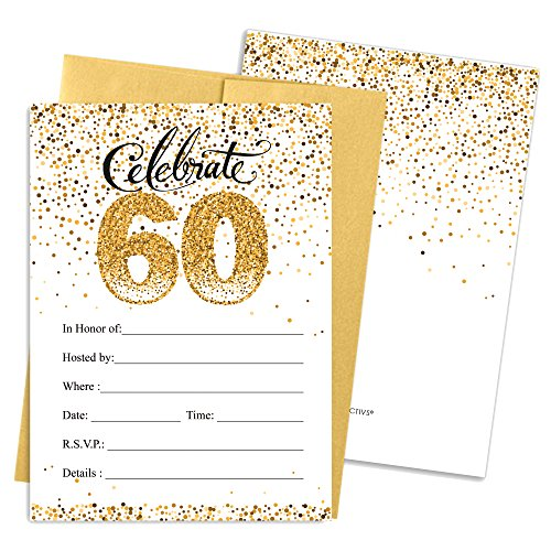 White Party Invitations (60th Birthday Party Invitation Cards with Envelopes, 25 Count (White and Gold))