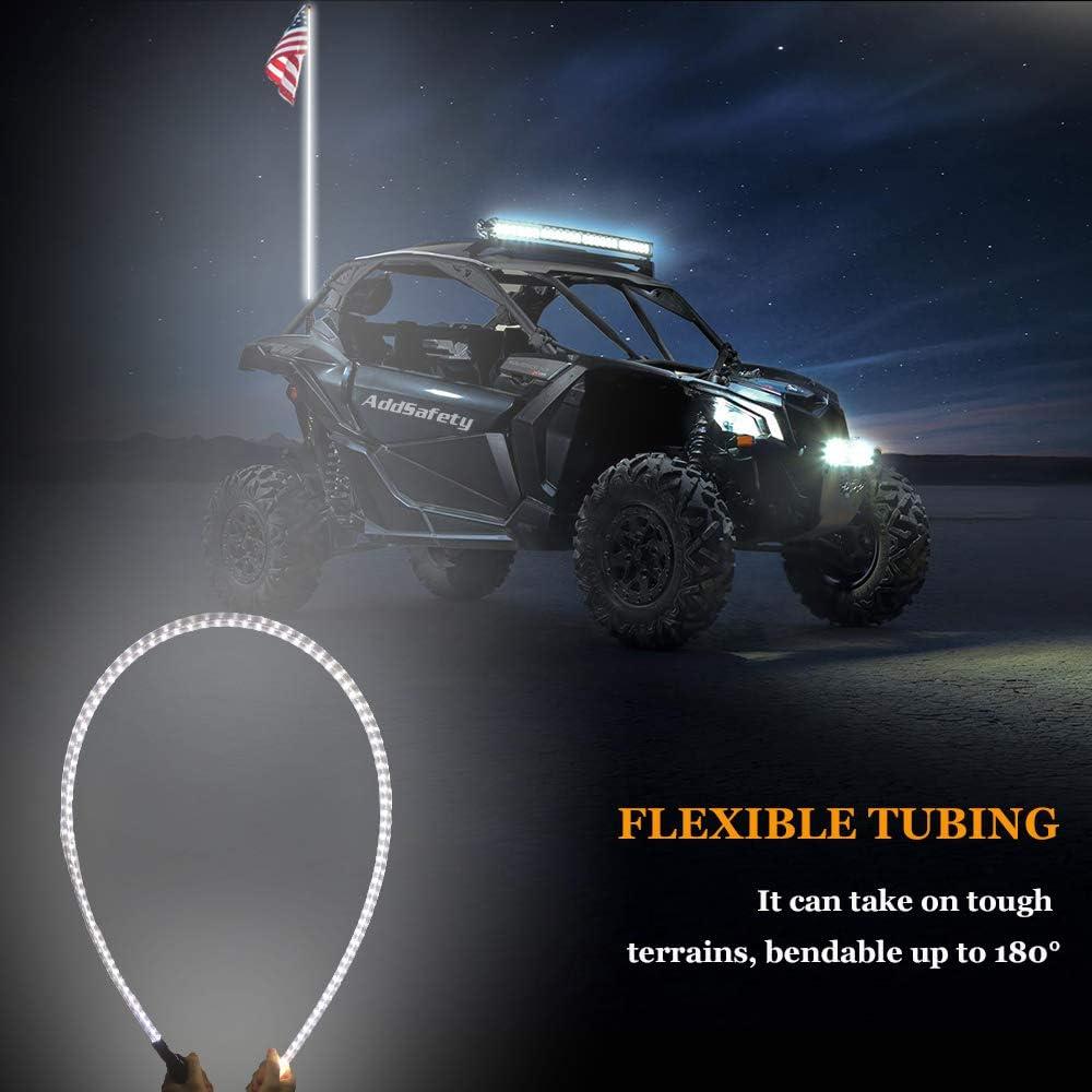 AddSafety 5FT Red LED Whips Light UTV Whips LED Antenna Light For Off Road Vehicle ATV UTV RZR Jeep Trucks Dunes