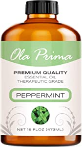 Ola Prima 16oz - Premium Quality Peppermint Essential Oil (16 Ounce Bottle) Therapeutic Grade Peppermint Oil