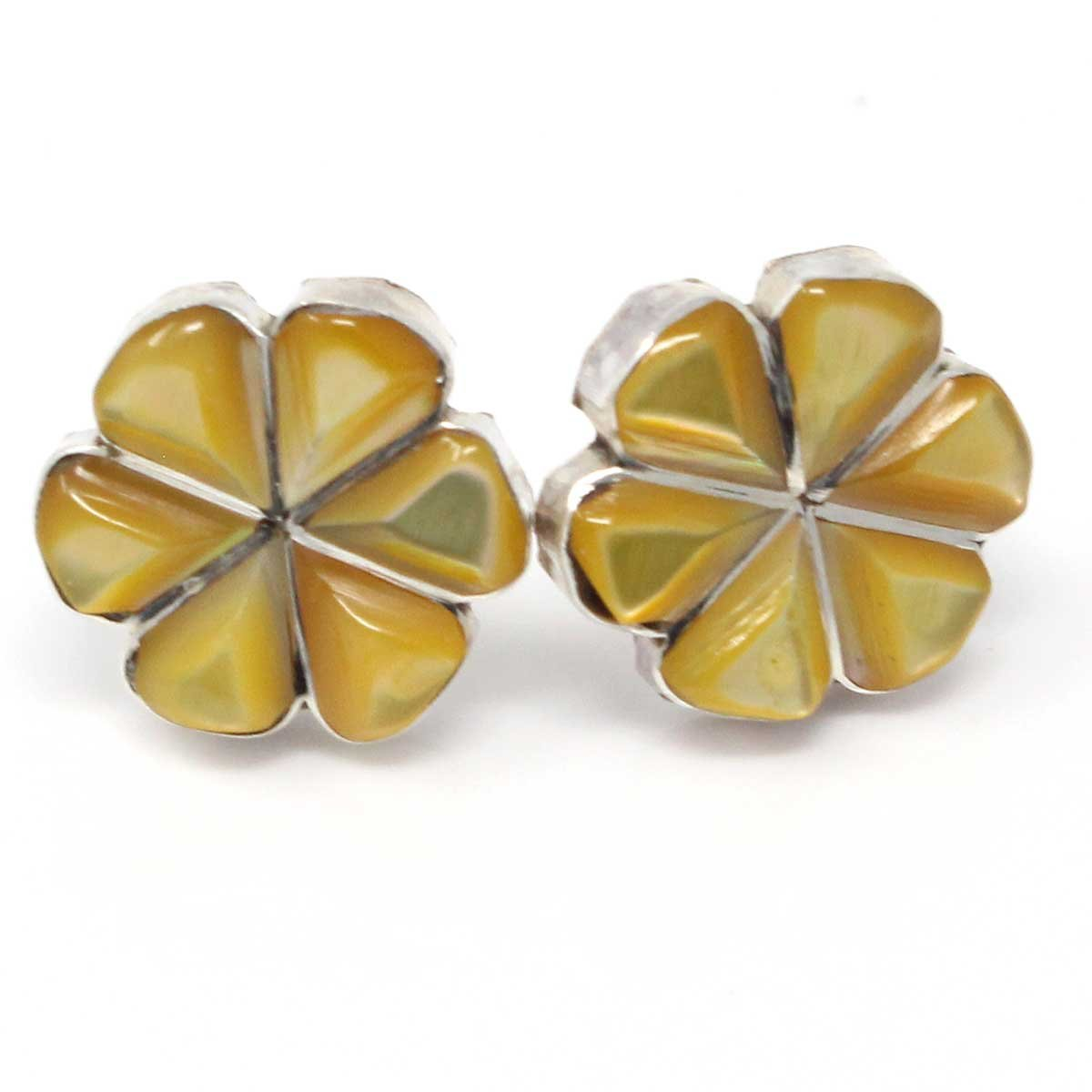 Yellow Clam Shell Sterling Silver Inlay Flower Stud Earrings By Martinez
