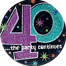 """The Party Continuous 40th Birthday Party Round Dessert Prismatic Plates Tableware, Pack of 8, Multi , 7"""" Paper"""