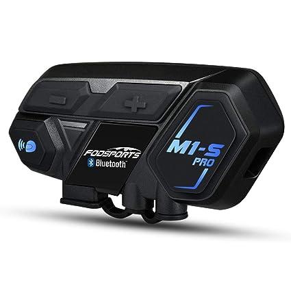 Intercomunicador de Motocicleta de Bluetooth 4.1 Casco Comunicador Auricular Impermeable Inalambrico Intercom Interfono con 2000M, GPS, música HiFi (2 ...