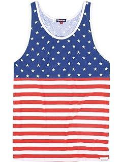 012e80886e5a Tipsy Elves Men s American Flag Tank Top - Patriotic USA Stars and Stripes  Shirt
