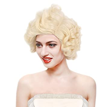 STfantasy Marilyn Monroe Wig Platinum Blonde Short Curly Layered for Women  Cosplay Costume Retro Party Hair e72e0648d5