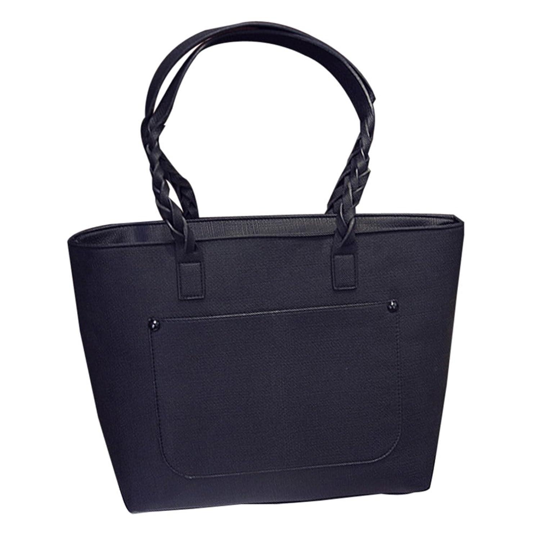 Women Handbag,Women Bag, KINGH Vintage Weave Causal Big Shoulder Bag PU Leather Leisure Tote 071 Gray