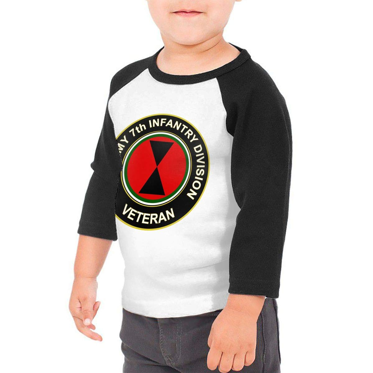 US Army 7th Infantry Division Veteran Unisex Toddler Baseball Jersey Contrast 3//4 Sleeves Tee