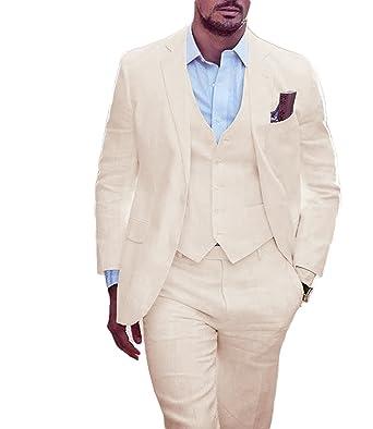 6efa8ecb5020 Lilis Men s Summer White Wedding Suits 3 Pieces Groom Tuxedos Men Suit at  Amazon Men s Clothing store