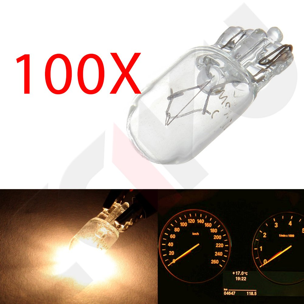 100 cciyu Qty W5W T10 194 Halogen Amber Bulbs Replacement fit for Side//Fender Marker Clearance Light Lamp