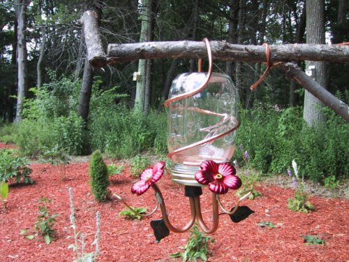 Perry's Glass & Copper Hummingbird Feeder - CANNIN' JAR - Clear Handcrafted