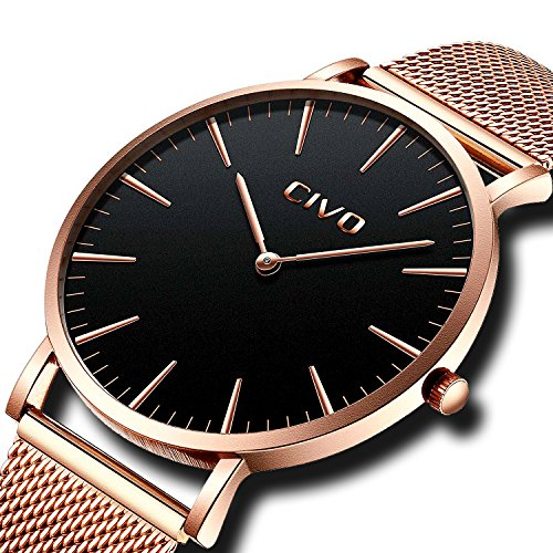CIVO Mens Watches Ultra Thin Minimalist Luxury Fashion Business Dress Casual Waterproof Quartz Wrist Watch for Man Woman with Rose Gold Stainless Steel Mesh Band (Rose Gold/Black)