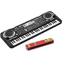 Roloiki 61 Keys Electronic Digital Piano Keyboard with Dual Speakers Microphone USB/Battery Powered + Tremolo Harmonica…