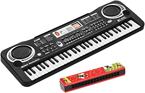 61 Keys Electronic Digital Piano Keyboard with Dual Speakers Microphone USB/Battery Powered + Tremolo Harmonica 16 Holes Kids Musical Instrument Educational Toy Wooden Cover Colorful Free Reed Wind