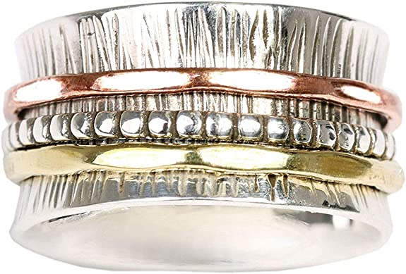 bague tournante de m/éditation en argent sterling Energy Stone /« C/ŒUR SIMPLE /» Style UK68