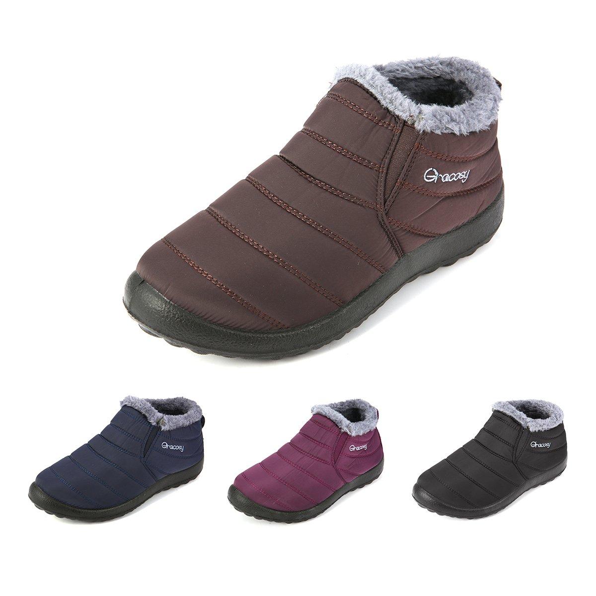 gracosy Women Snow Boots Winter Warm Fur Lining Slip On Flat Ankle Shoes Anti Slip Waterproof Outdoor B01NAGM39X 6 M US|Coffee