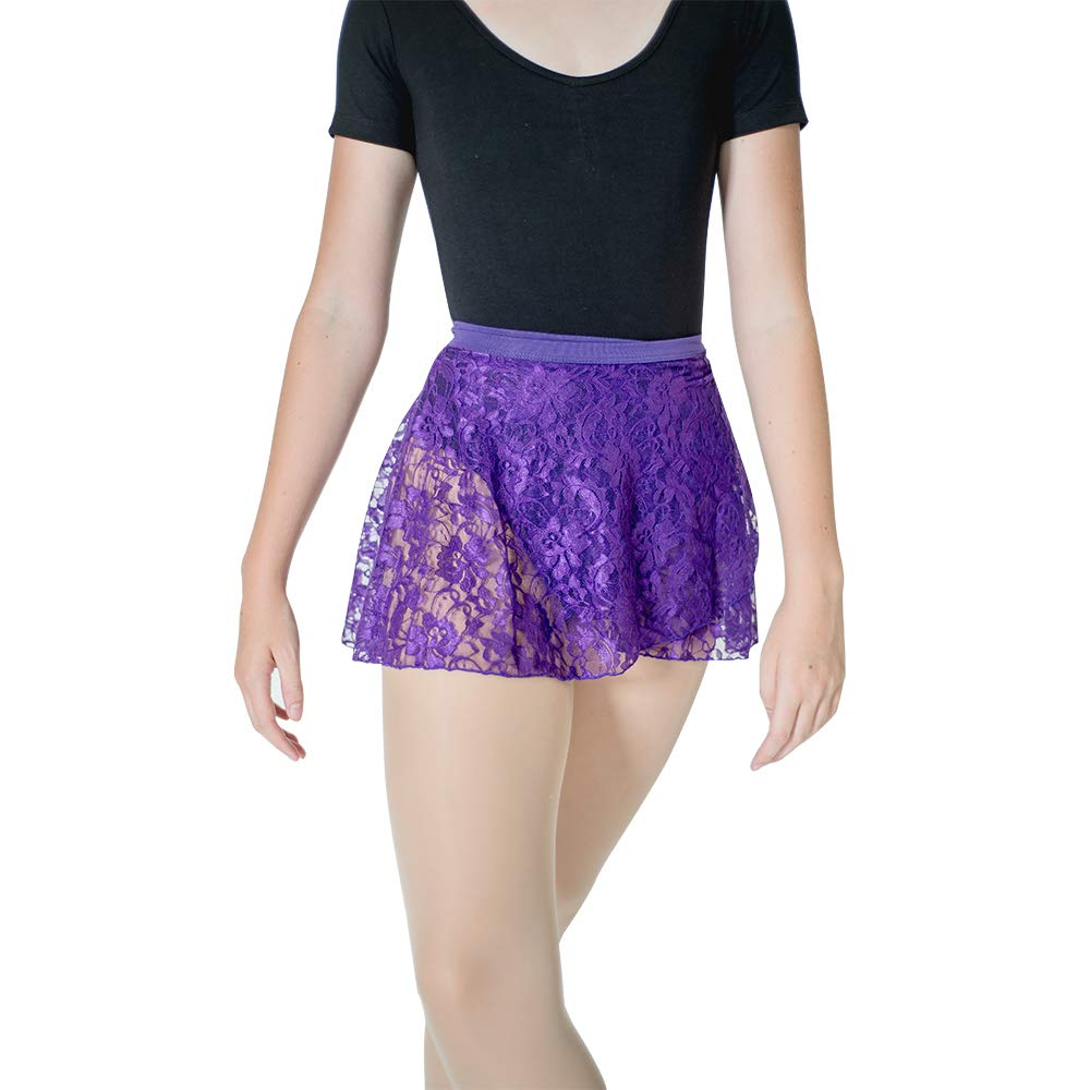 HDW DANCE Lace Dance Wrap Skirts for Women Cotton Waistband (Purple) by HDW DANCE