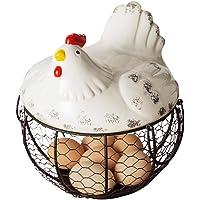 Cartoon Shape Ceramic Iron Fruit Basket Lovely Hen Shape Drainable Egg Garlic Storage Basket Kitchen Living Room 20 * 12cm