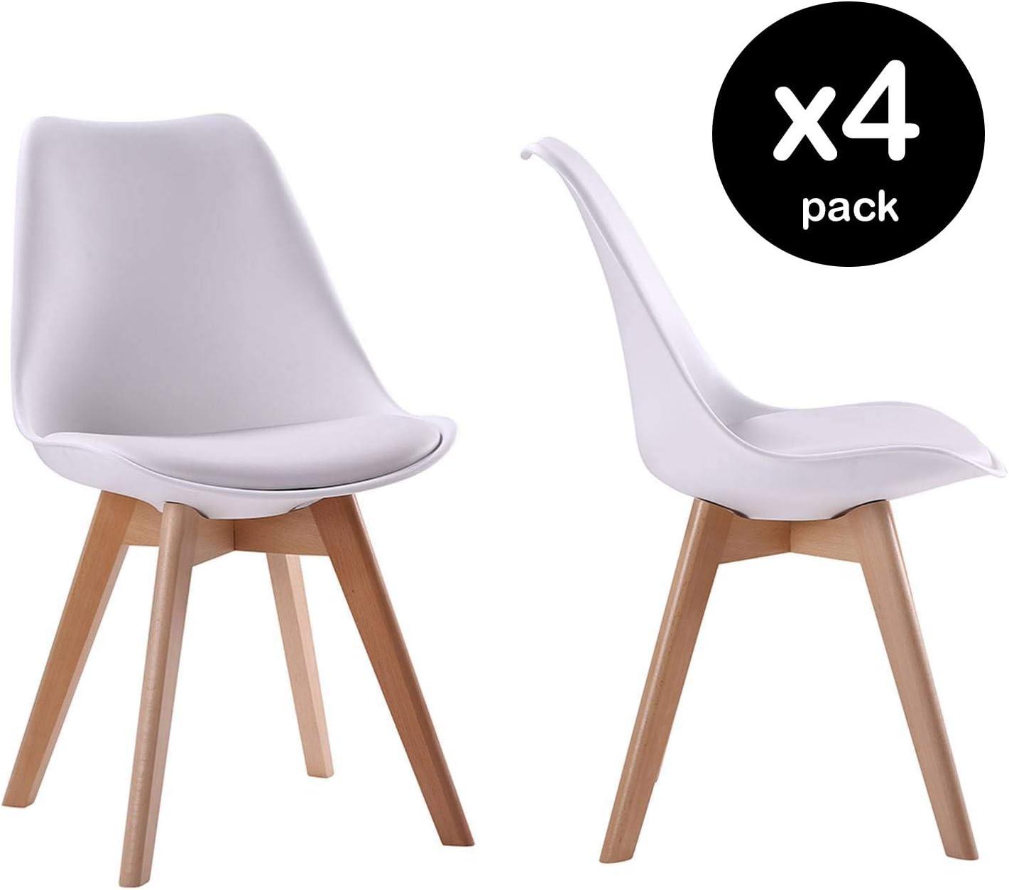 modello Senja Set di 4 sedie scandinave con cuscini e gambe in legno massello Beneffito