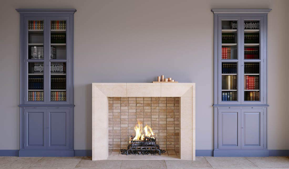 Mandela Modern Real Stone Fireplace Mantel and Surround 42 Inches x 36 Inches Wood Burning Fireplace Cream Limestone by Custom Fireplaces
