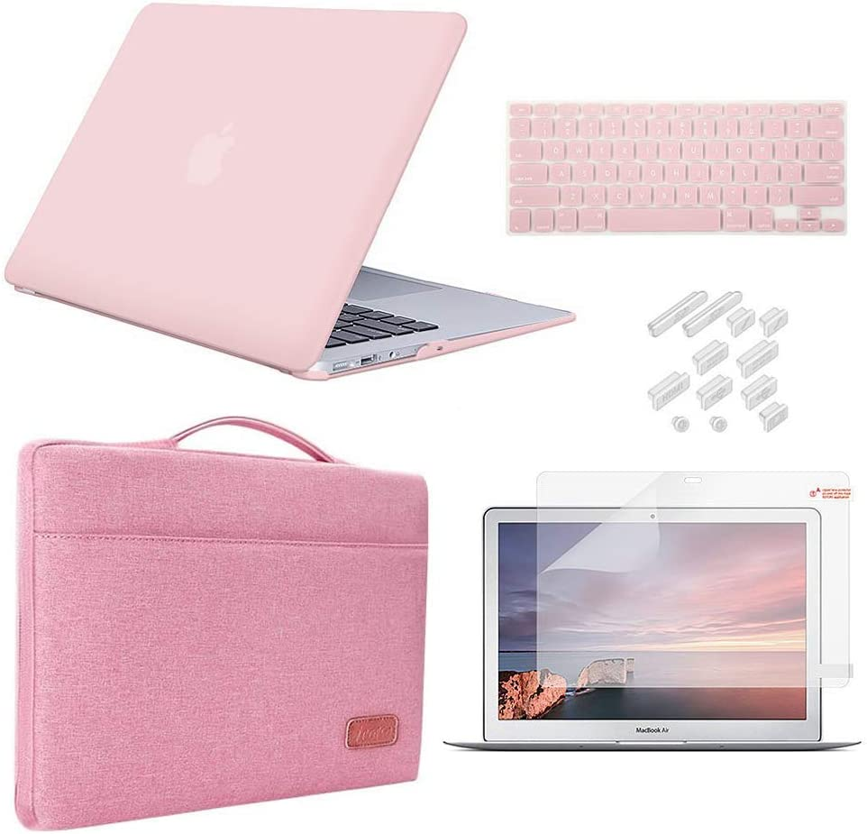 MacBook Air 13 Inch Case 2010-2017 Release Model A1369/A1466 Bundle 5 in 1, iCasso Hard Plastic Case, Sleeve, Screen Protector, Keyboard Cover & Dust Plug Compatible Old MacBook Air 13'' - Rose Quartz