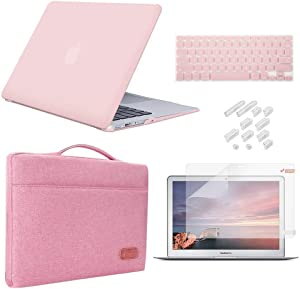 iCasso MacBook Pro 13 Inch Case 2012-2015 Release Model A1425/A1502 Bundle 5 in 1, Hard Plastic Case, Sleeve, Screen Protector, Keyboard Cover & Dust Plug Compatible Old MacBook Pro 13 - Rose Quartz