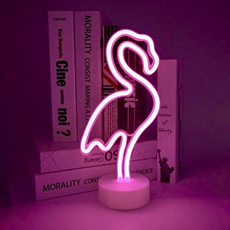 7870d62e33f StarryMine Flamingo Neon Light Signs,Pink LED Neon Art Decorative with  Holder Base,Table