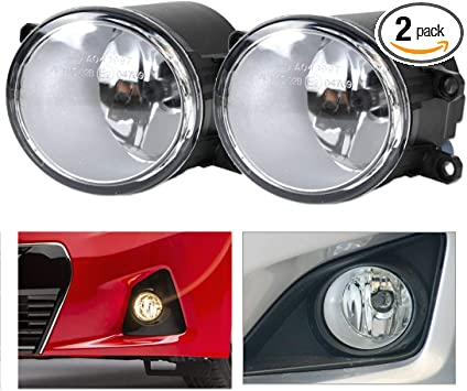 GSRECY Pair Front Clear Glass Lens Black Cover Fog Lights W//Bulbs for 2011-2013 Toyota Corolla with Switch Wiring
