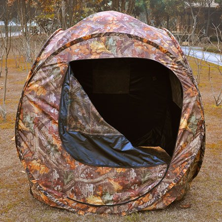 Durable 2 Person Pro Pop Up Ground Hunting Camping Hiking Blind Steel Frame Camo Tent w/ 4 Windows Zipper Removable Mesh Portable Carry Case for Outdoor by Generic