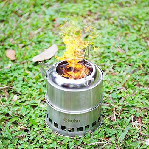 Ohuhu Portable Stainless Steel Wood Burning Camping Stove>