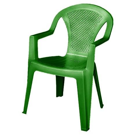 ISCHIA Sedia da giardino in resina con braccioli impilabile Verde