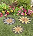 Plow & Hearth Sunflower Stepping Stones, Set of 3-12.5 Dia.