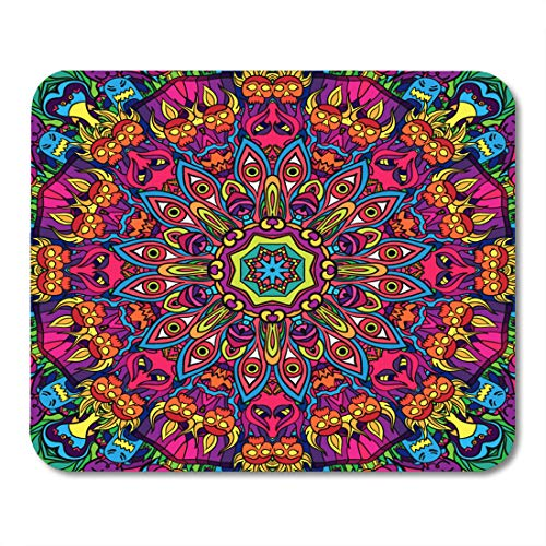 Semtomn Mouse Pad Green Crazy 60S Hippie Psychedelic LSD Pattern Acid Trippy Mousepad 9.8