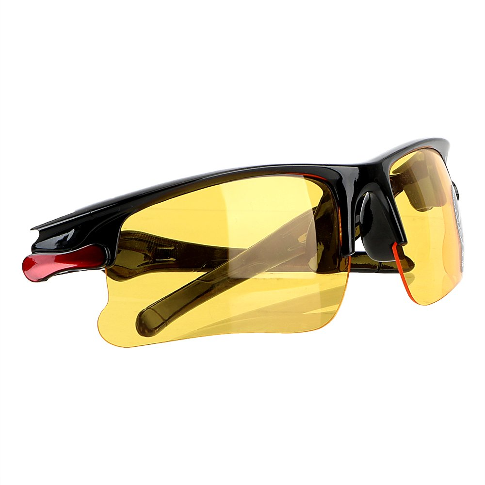 iTimo Night Vision Drivers Goggles Interior Accessory Protective Gears Sunglasses Night-Vision Glasses Anti Glare Car Driving Glasses(Red & Yellow) 15636-1