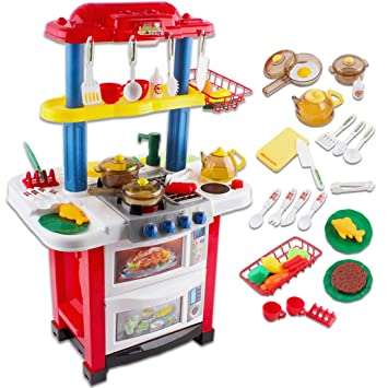 deAO Cocina de Juguete Happy Little Chef Cocinita con Luces 44ae1cd1e225