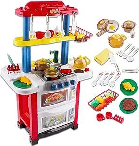 deAO Cocina de Juguete Happy Little Chef Cocinita con Luces, Sonidos, Funciones de Agua Real y Accesorios Incluidos